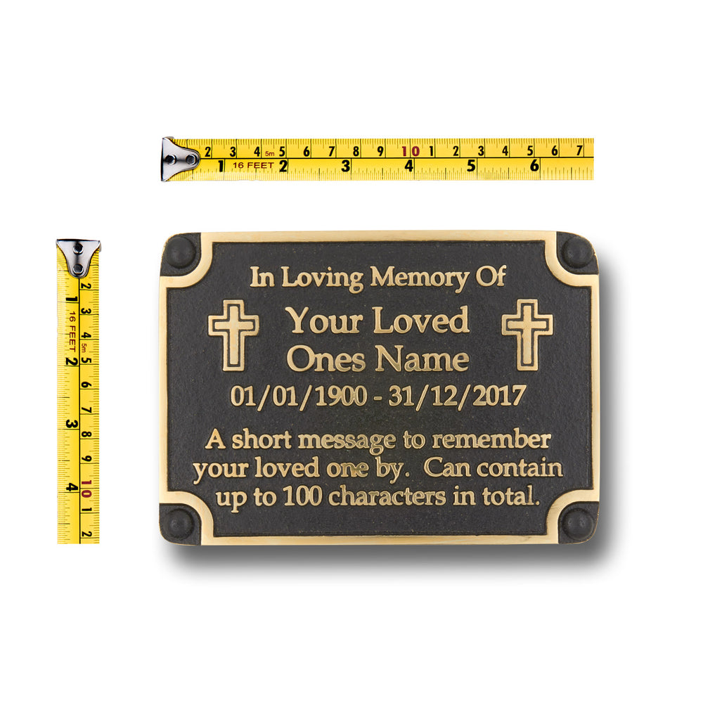 Personalised Memorial Cross Metal Plaque For Memory Of A Loved One, Mother, Father Or Grandparents. Wall Mounted Or With Garden Stake As Garden Stones Statue Gift Alternative Idea In Brass