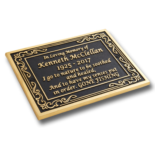 Personalised Memorial Ornate Metal Plaque For Memory Of A Loved One. Wall Mounted Or With Garden Stake As Garden Stones Statue Gift Alternative Idea In Brass
