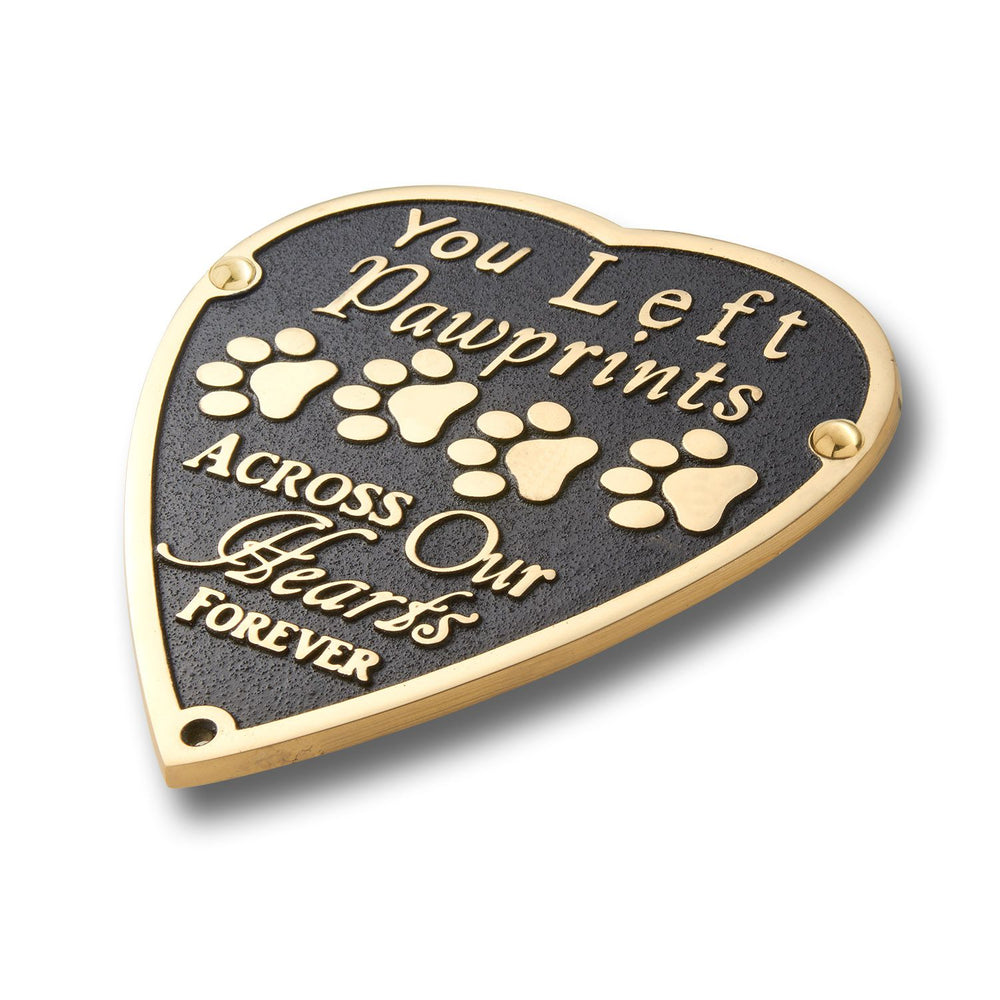 Pet Memorial 'Pawprints' Metal Plaque With Stake For Dog Or Cat. Garden Stones Statue Gift Alternative Idea