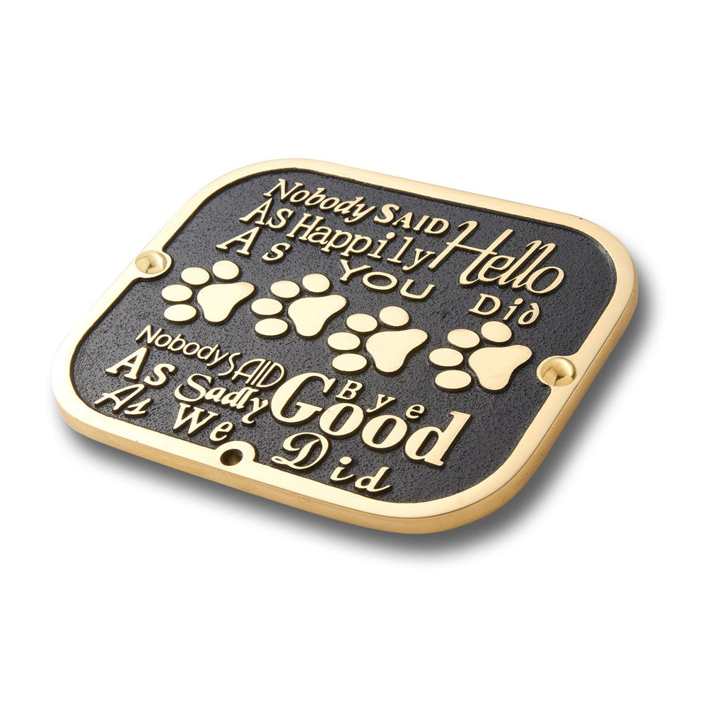 Pet Memorial 'Goodbye' Metal Plaque With Stake For Dog Or Cat. Garden Stones Statue Gift Alternative Idea