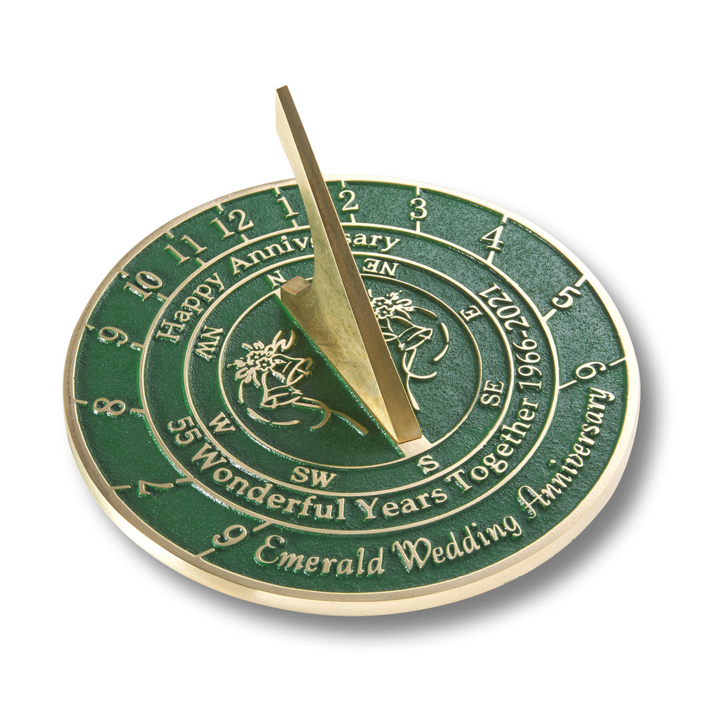 55th Emerald Wedding Anniversary Sundial Gift