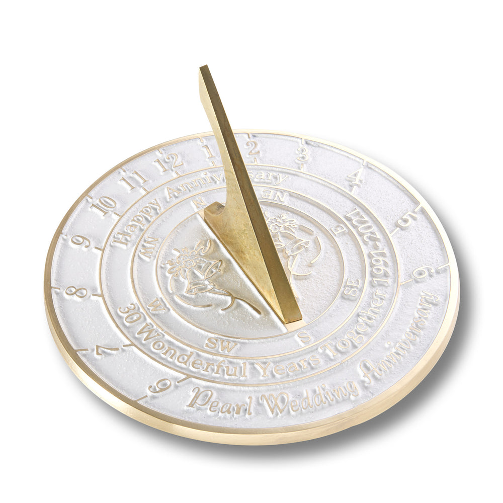 30th Pearl Wedding Anniversary Sundial Gift