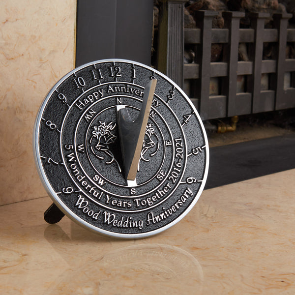 5th Wood Wedding Anniversary Sundial Gift