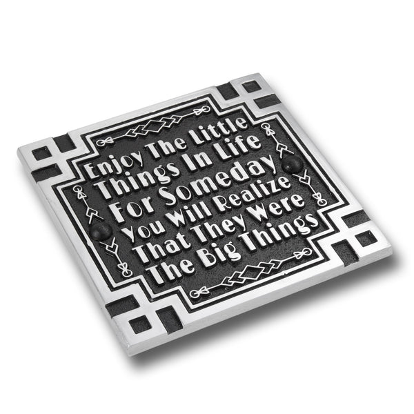 Art Deco Décor Wall Art Metal Plaque With Inspirational Quote 'Little Things'. Home Accessory Gift For Parents Or Friends, Him Or Her.