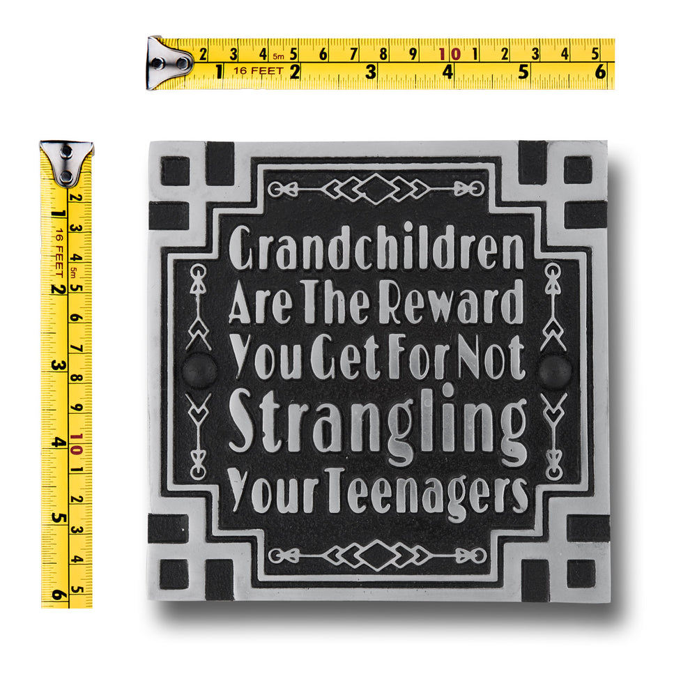 Art Deco Décor Wall Art Metal Plaque With Inspirational Quote 'Grandchildren'. Home Accessory Gift For Parents Or Friends, Him Or Her.