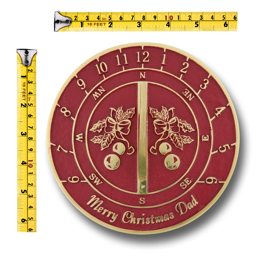 Christmas Sundial Gift For Dad. Heavy Duty Cast Brass Sundial Gift Handmade In England Just For Him.