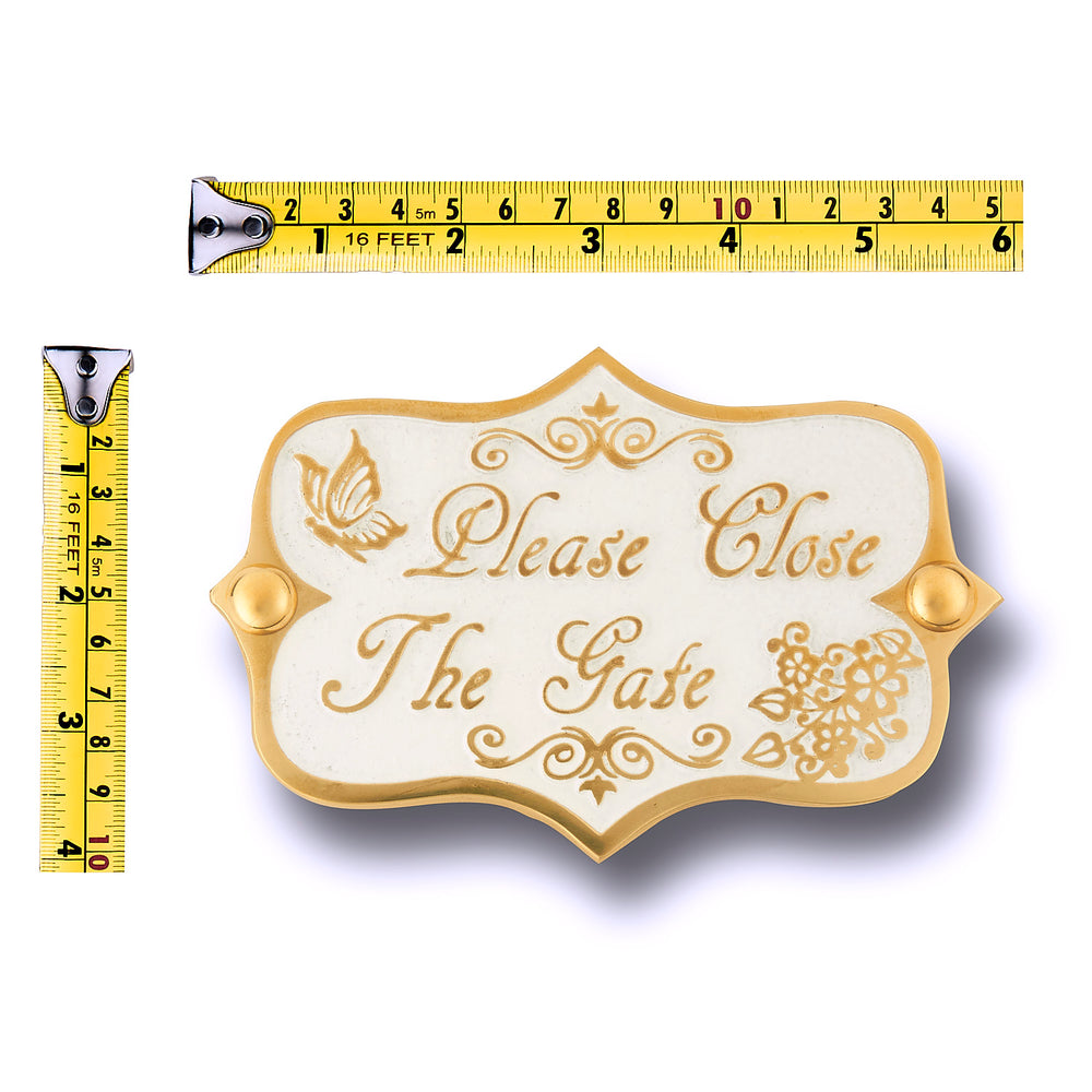 Please Close The Gate Brass Door Sign.  Vintage Shabby Chic Style Home Décor Wall Plaque