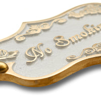 No Smoking Brass Door Sign.  Vintage Shabby Chic Style Home Décor Wall Plaque