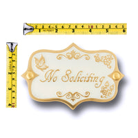 No Soliciting Brass Door Sign.  Vintage Shabby Chic Style Home Décor Wall Plaque