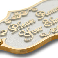 Please Remove Your Shoes Brass Door Sign.  Vintage Shabby Chic Style Home Décor Wall Plaque