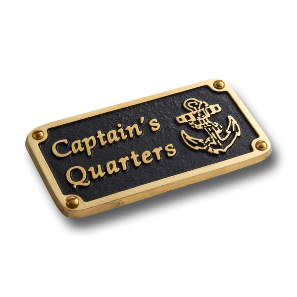 Nautical Bedroom Décor Accessories Brass Plaque. Beach Theme Funny Wall Decoration Captain's Quarters Sign
