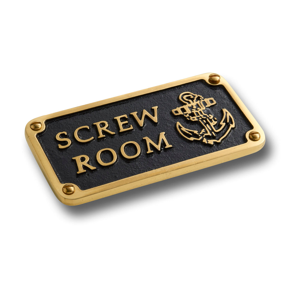 Nautical Bathroom Décor Accessories Brass Plaque. Beach Theme Funny Wall Decoration SCREW ROOM Sign