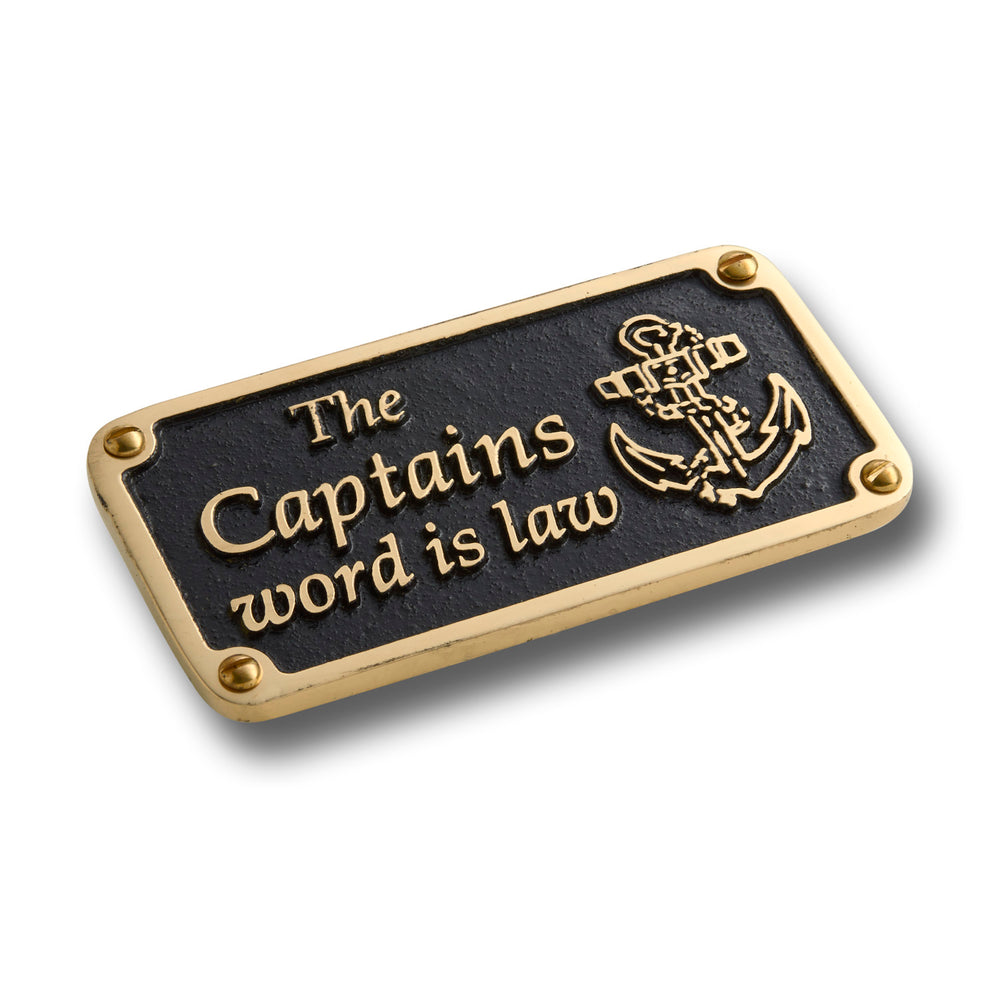 Nautical Themed Gift Plaque. Captain's Word Boating Or Sailing Brass Sign Is A Great Birthday Present For Him Or Her