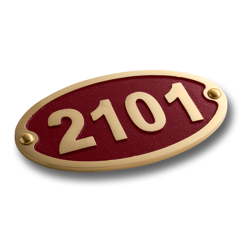 House Number Sign Traditional Oval.  Cast Metal Personalised Home Or Mailbox Plaque