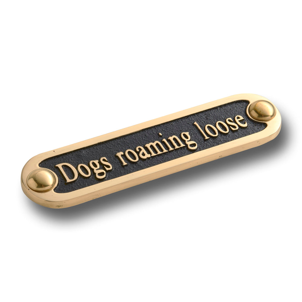 Dogs Roaming Loose Brass Door Sign.  Traditional Style Home Décor Wall Plaque