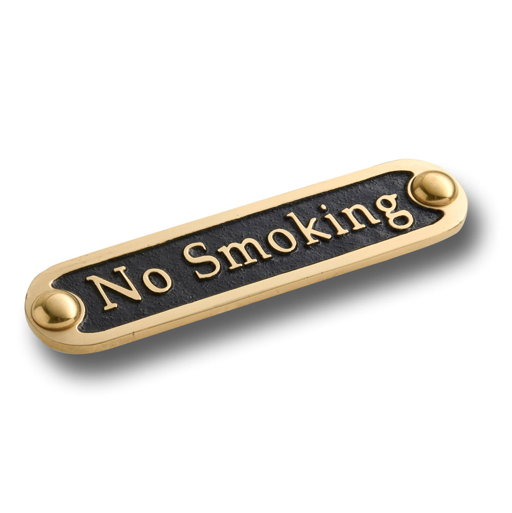 No Smoking Brass Door Sign.  Traditional Style Home Décor Wall Plaque