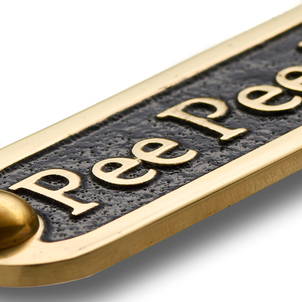 Pee Pee Room Brass Door Sign.  Traditional Style Home Décor Wall Plaque