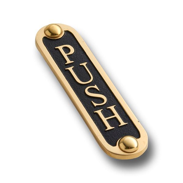 PUSH Brass Door Sign.  Traditional Style Home Décor Wall Plaque
