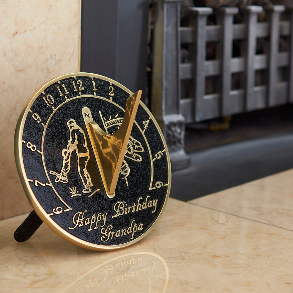 Happy Birthday Grandpa Sundial Gift. New Idea For His Garden Or As An Ornament From Grandson, Granddaughter Or Grandkids. Lasting Card For Him On His Birthday