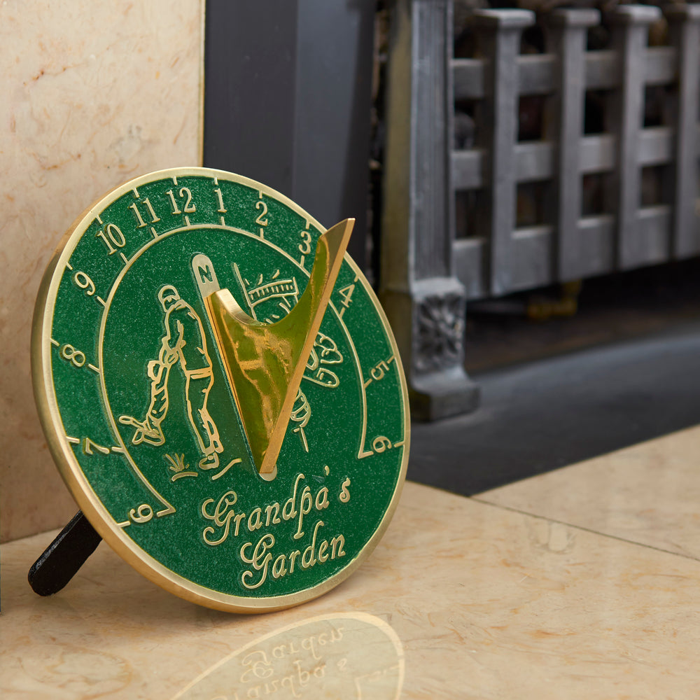 Grandpa's Garden Sundial Gift. New Gift Idea For His Garden Or Ornament From Grandson, Granddaughter Or Grandkids. Lasting Card For Him On Fathers Day, Birthday Or Christmas