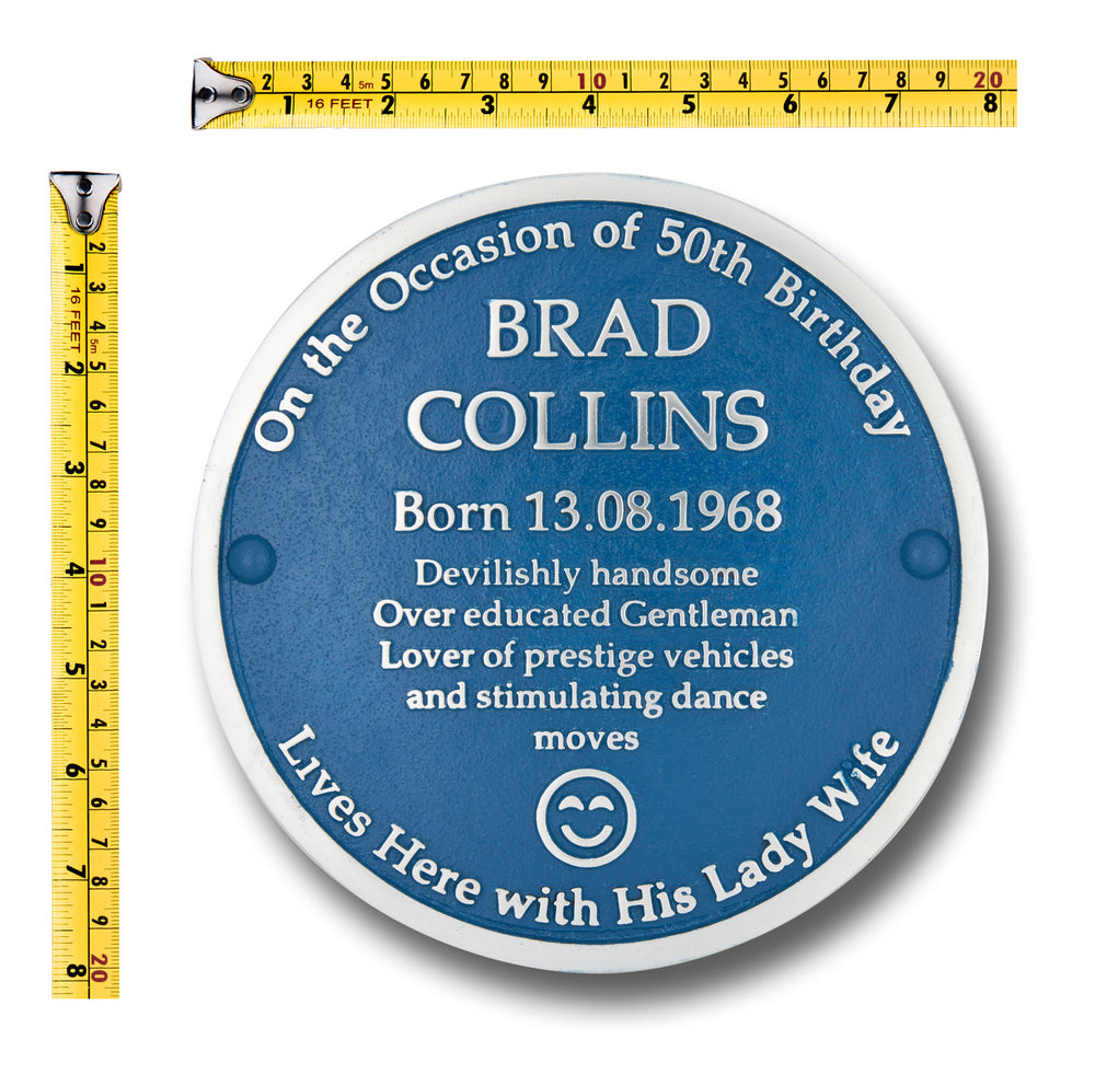 "Fun aluminium blue plaque 200mm (8"").  Fully customisable to make a great fun gift for someone special."