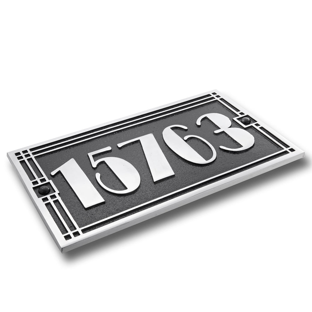 House Number Sign Art Deco Line Style.  Cast Metal Personalised Home Or Mailbox Plaque