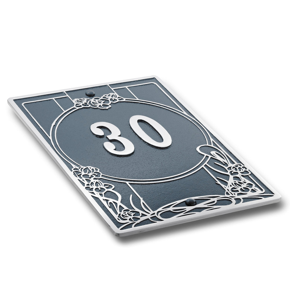House Number Sign Art Nouveau Style.  Cast Metal Personalised Home Or Mailbox Plaque