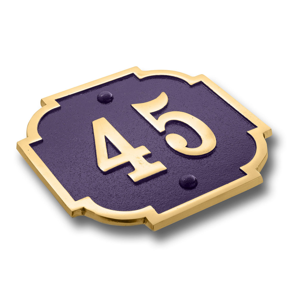 House Number Sign Traditional Chateaux.  Cast Metal Personalised Home Or Mailbox Plaque With Oodles Of Colour, Number And Letter Options