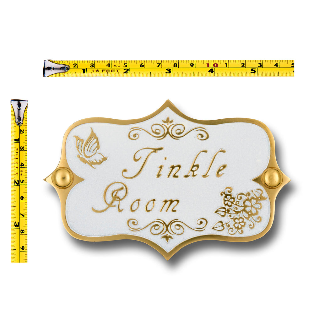 Vintage Shabby Chic Style Tinkle Room Toilet Door Sign.