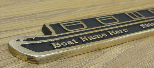 Custom Brass canal boat with your choice of text
