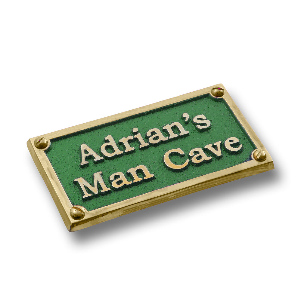 Custom Brass Man Cave Sign With Your Choice Of Name. Ideal Gift For Your Very Own Caveman