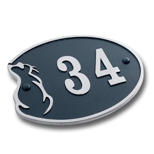 House Number Sign For Cat Lovers.  Cast Metal Personalised Home Or Mailbox Plaque With Oodles Of Colour, Number And Letter Options