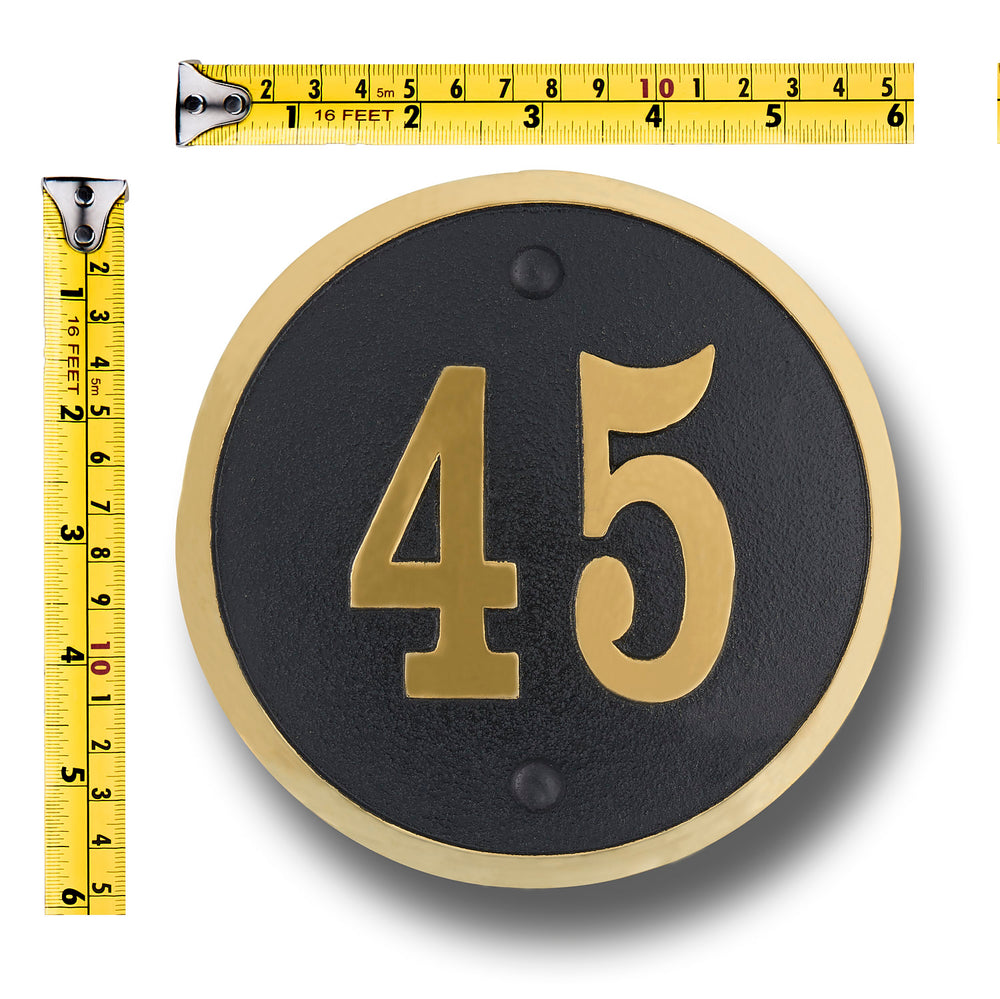 House number sign modern round style cast metal personalised home or mailbox plaque