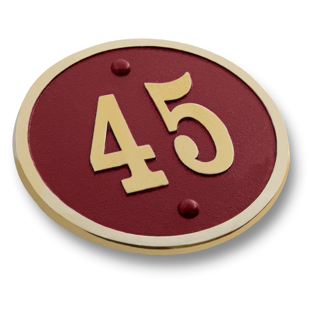 House Number Sign Modern Round Style.  Cast Metal Personalised Home Or Mailbox Plaque