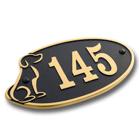 House Number Sign For Dog Lovers.  Cast Metal Personalised Home Or Mailbox Plaque