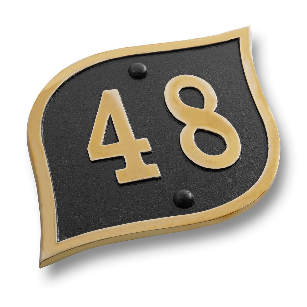 House Number Sign Modern Teardrop Style.  Cast Metal Personalised Home Or Mailbox Plaque