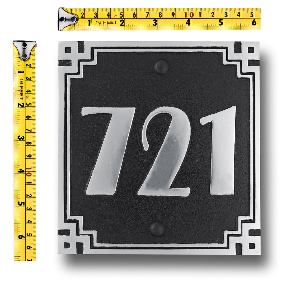 House Number Sign Art Deco Square Style.  Cast Metal Personalised Home Or Mailbox Plaque