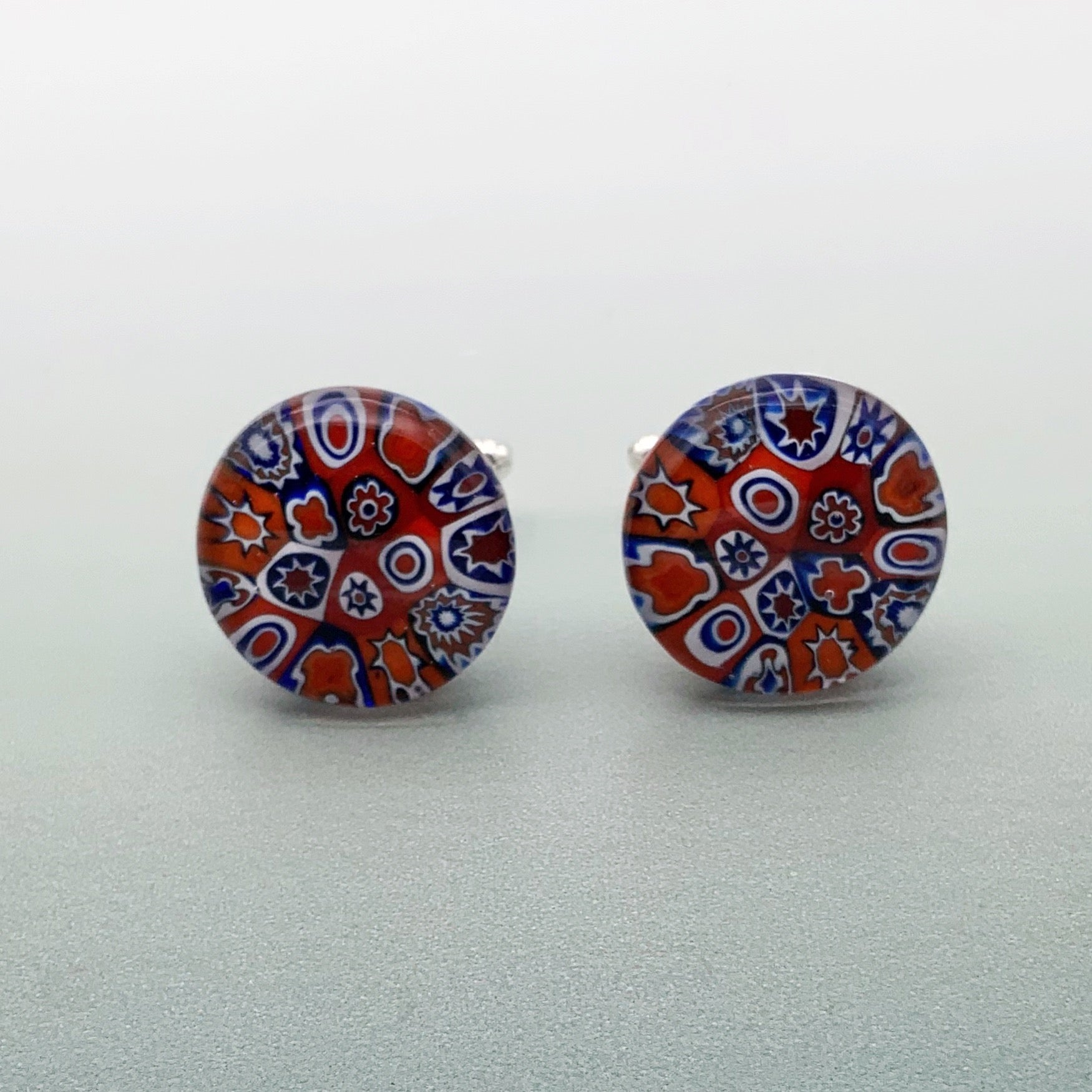 Multi millefiori red round glass cufflinks