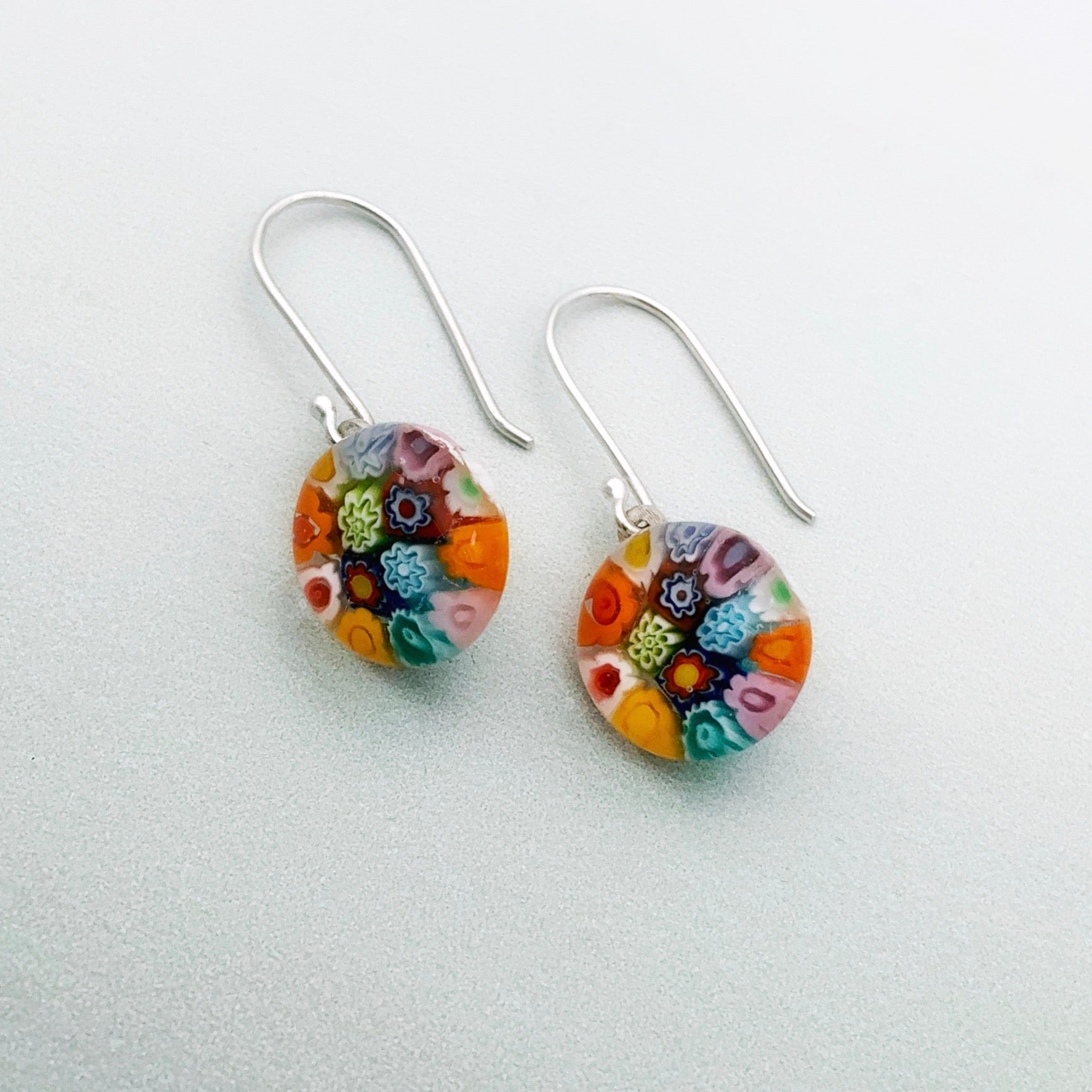 Millefiori glass rainbow dangles - mixed flowers