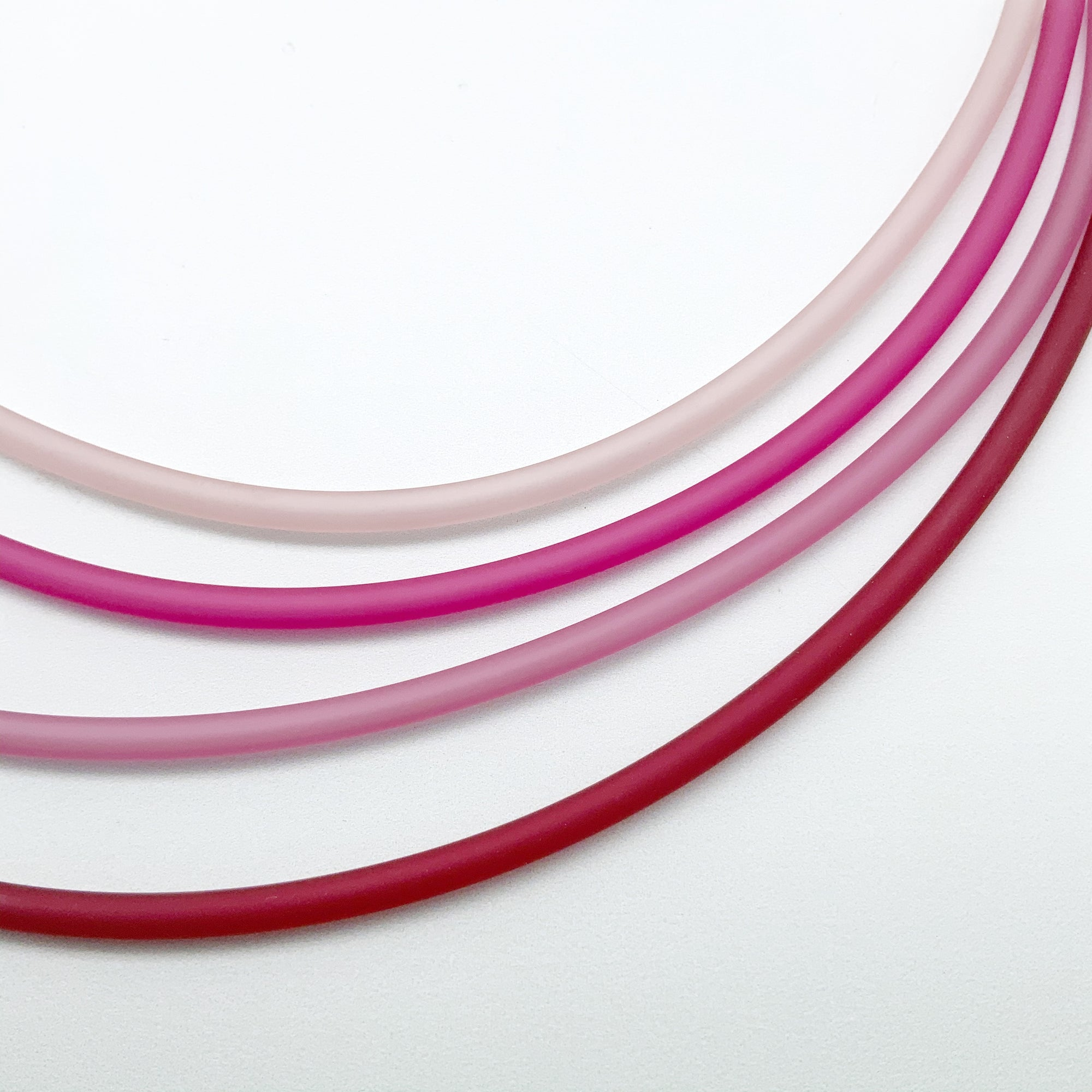 4mm PVC necklaces in pinks