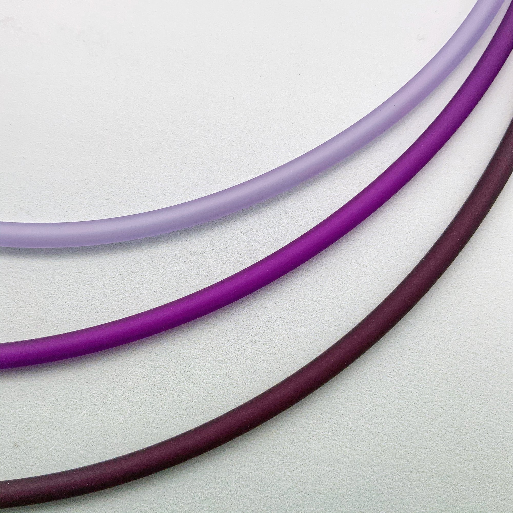4mm PVC necklaces in lilac, violet and plum