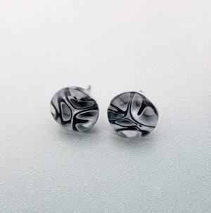 Fused murrini glass black and white  stud earrings