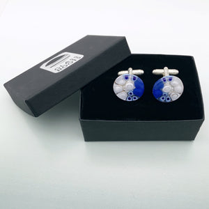 Blue Caviar glass cufflinks