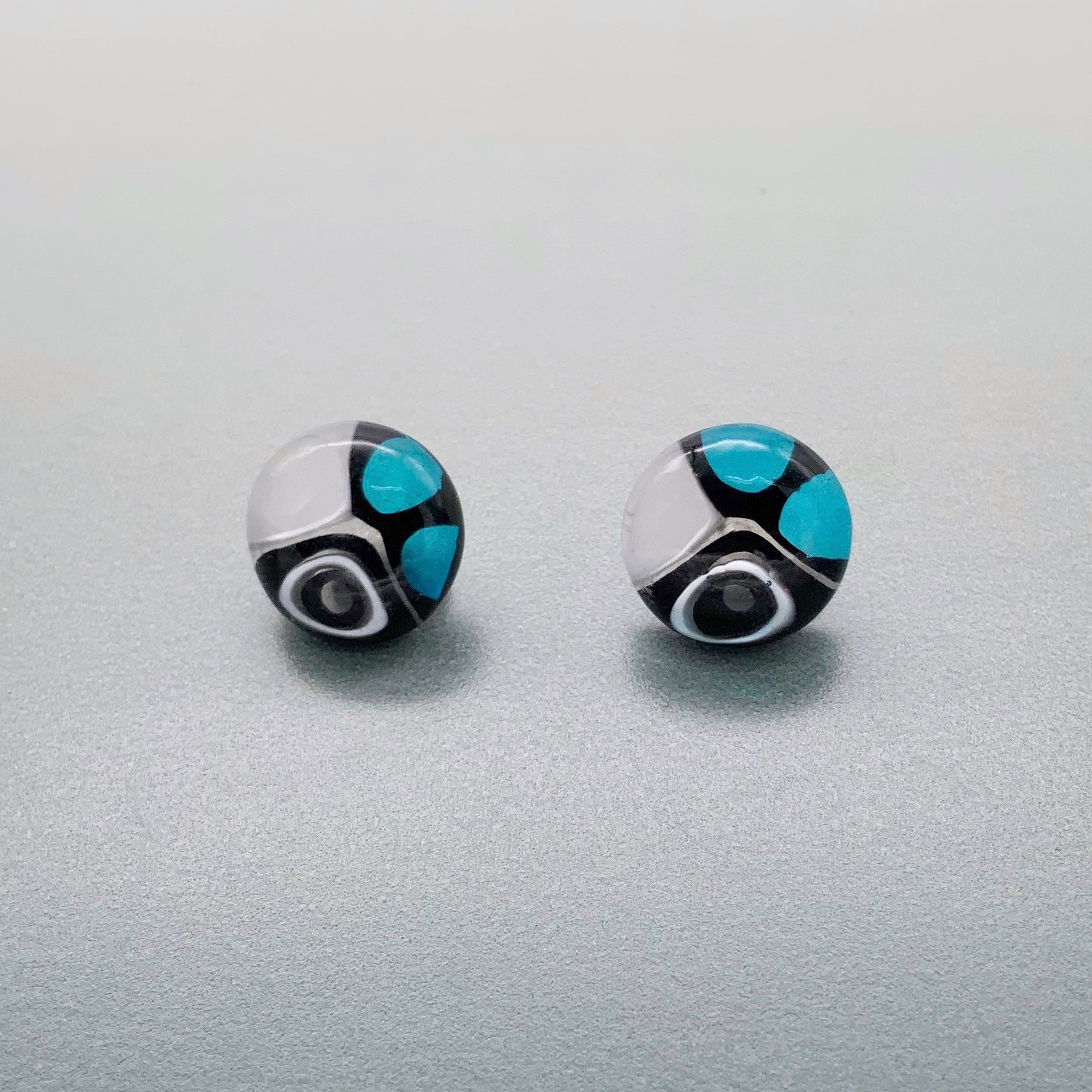Murrini glass white, turquoise and black stud earrings