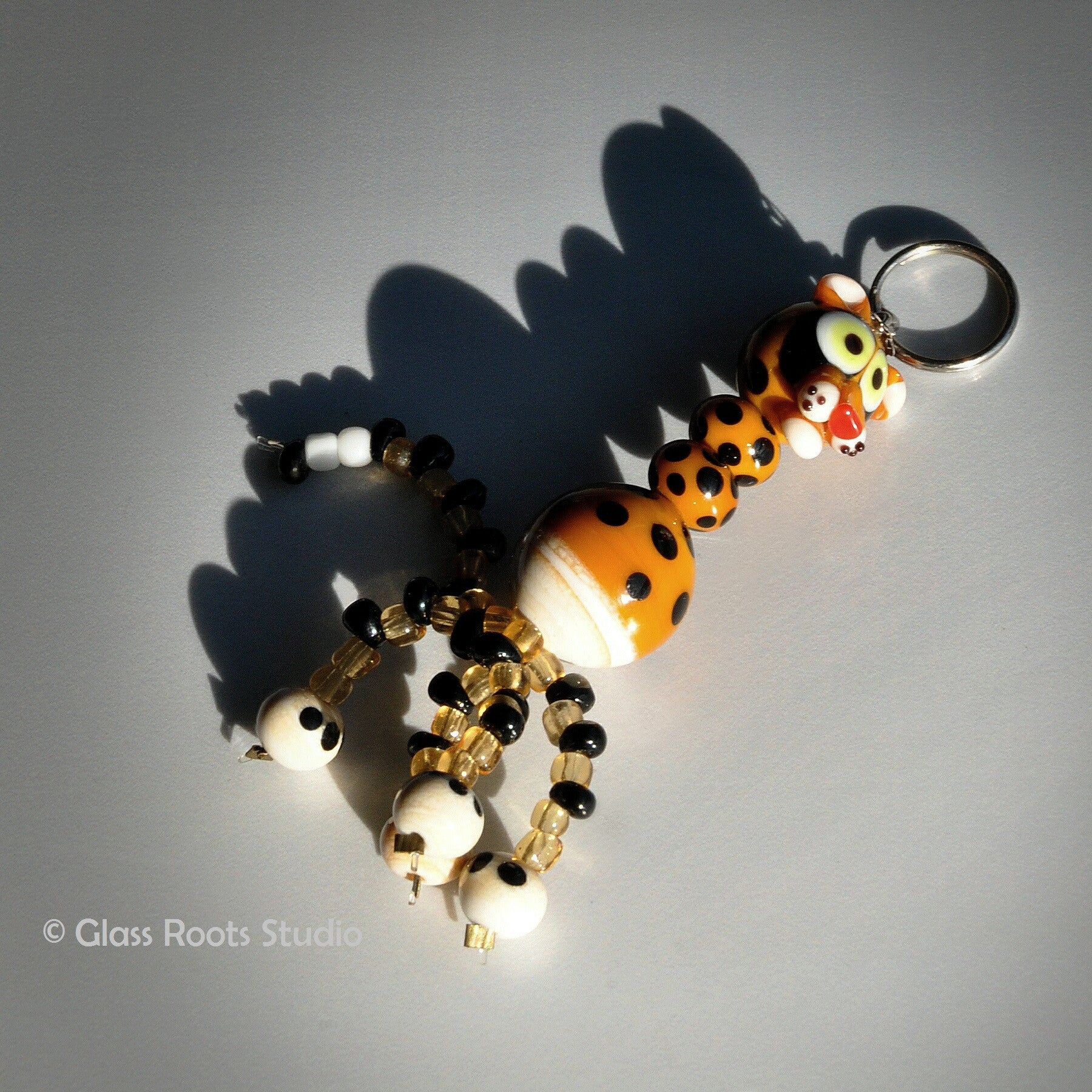 Glass Animal Keyring with Beaded Legs - Cheetah
