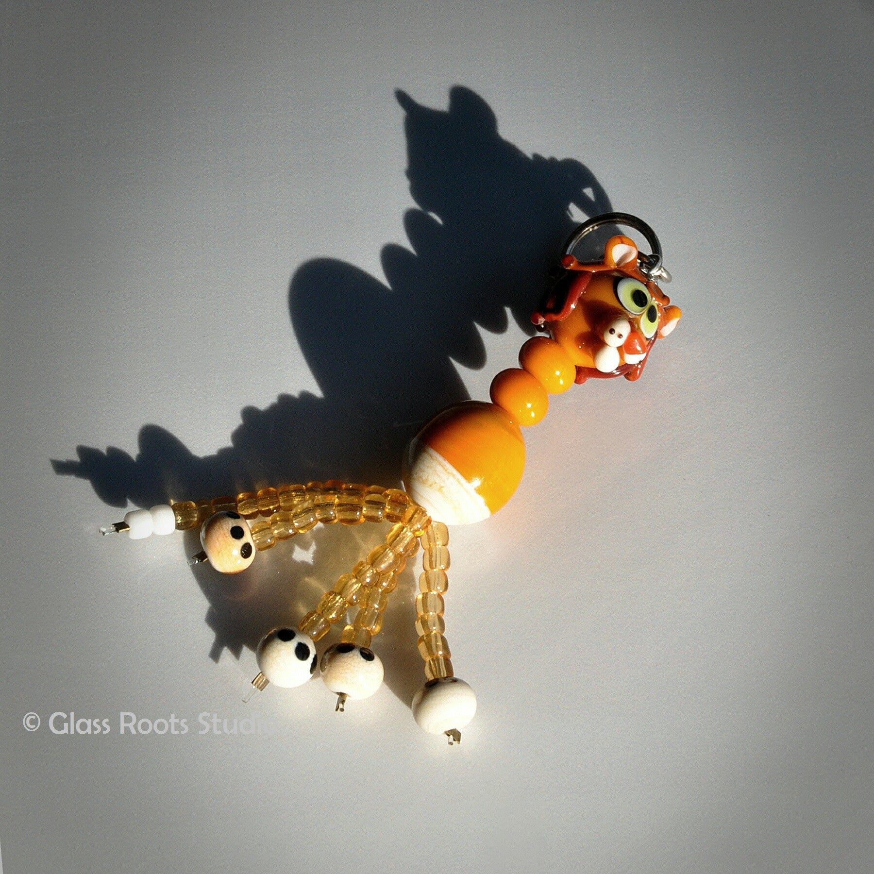 Glass Animal Keyring Beaded Legs - Lion