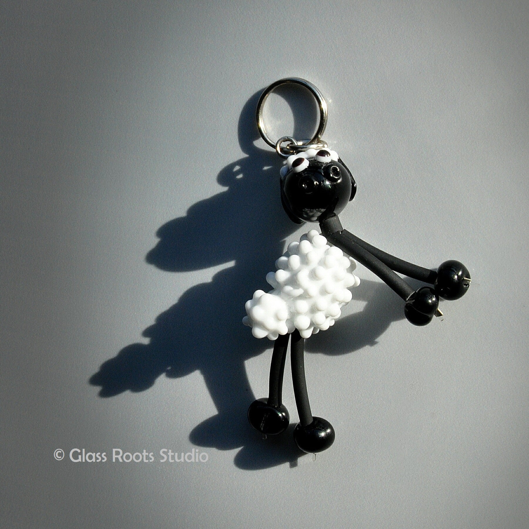 Glass Animal Keyring with Beaded Legs -Sheep