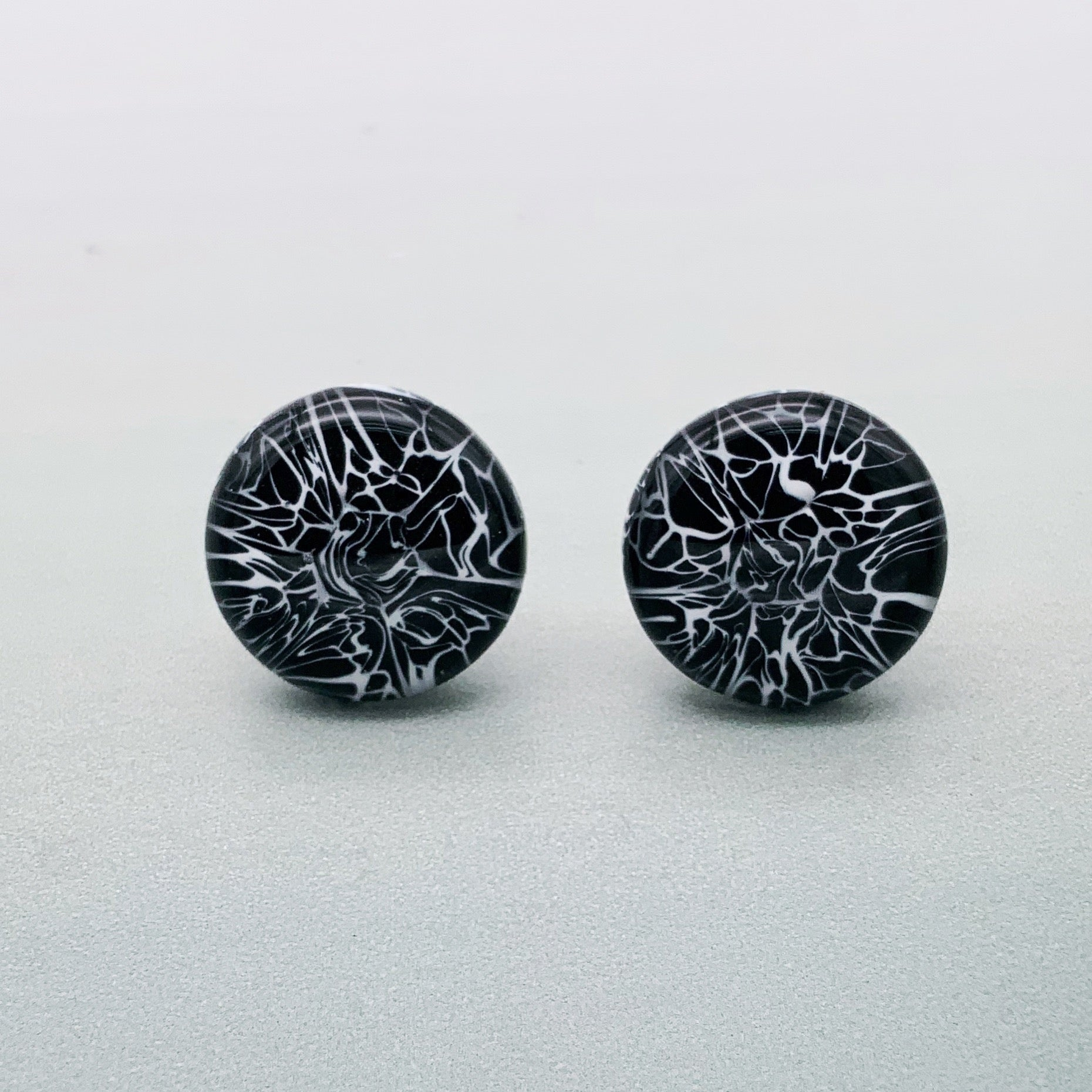 Black and white marmo glass cufflinks