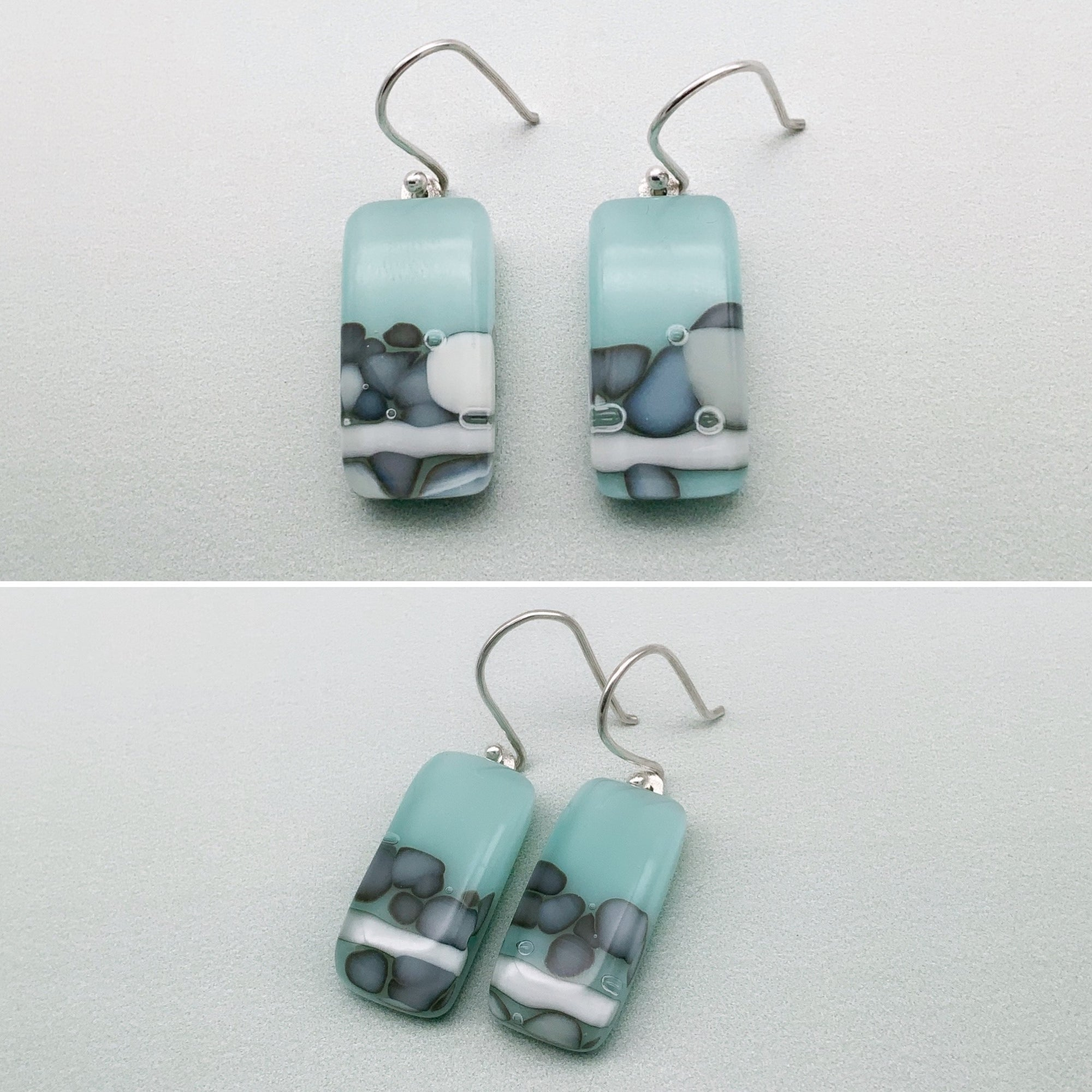 Nougat pale blue long glass dangle earrings
