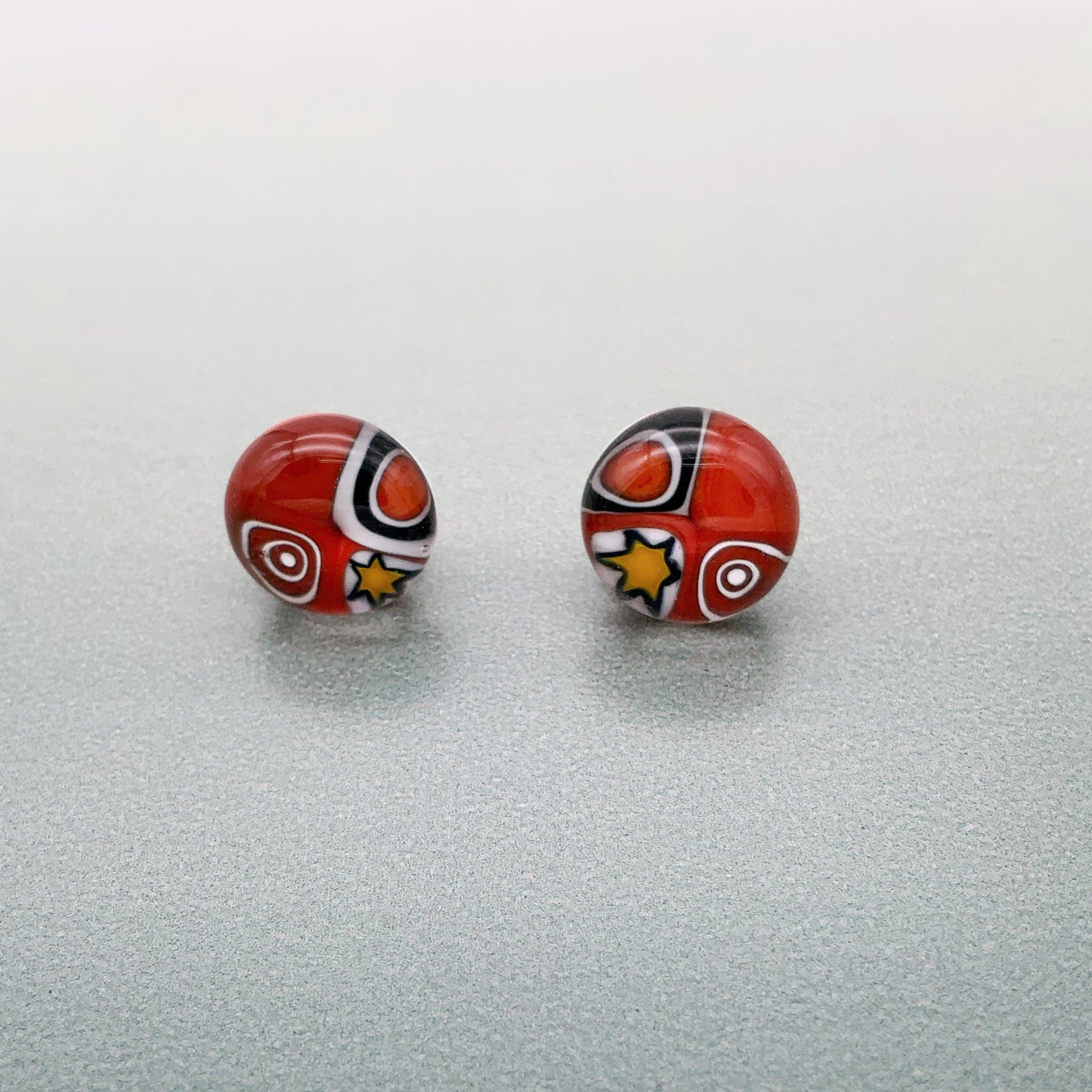 Shweshwe red stud earrings